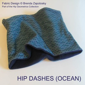 Hip Dashes Ocean Fleece Cowl by Brenda Zapotosky with Words