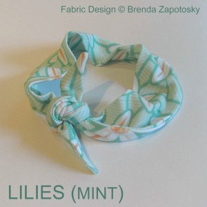 Lilies Mint Knotted Headband by Brenda Zapotosky WORDS