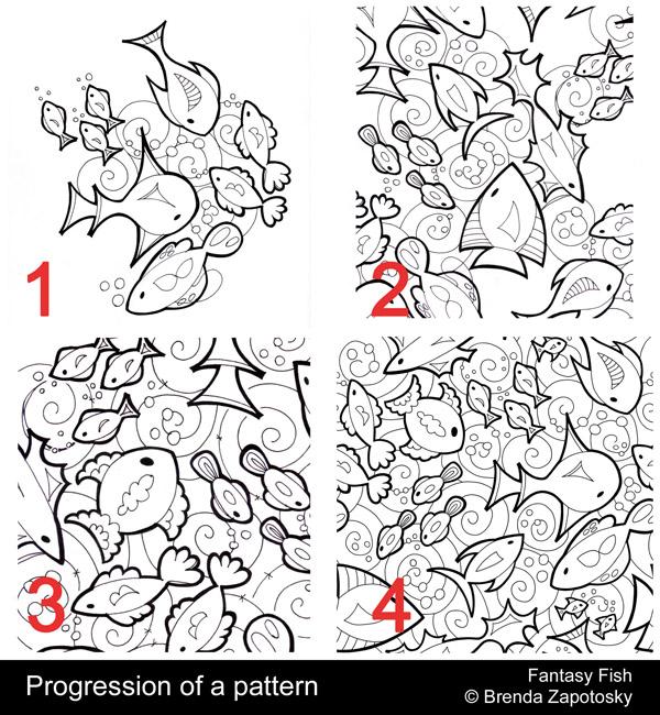 fantasy-fish-pattern-progression-by-brenda-zapotosky-with-words