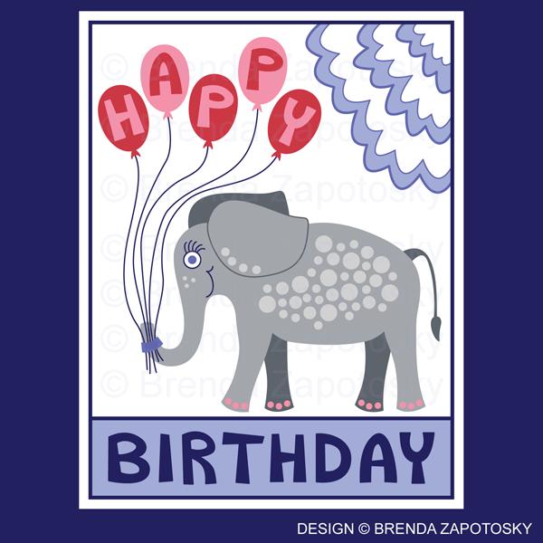 Birthday Elephant Greeting Card Pink by Brenda Zapotosky