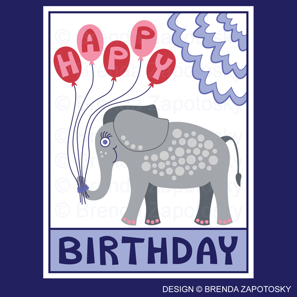 Birthday Elephant Greeting Card Pink by Brenda Zapotosky