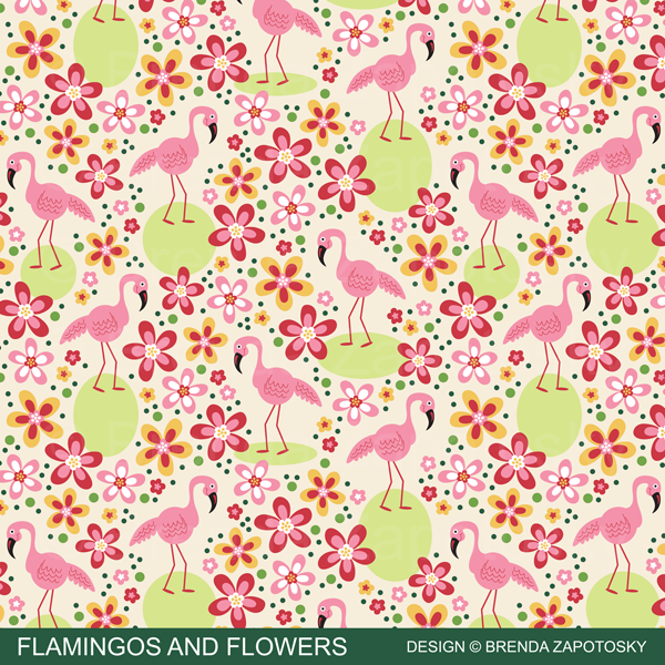 Flamingos and Flowers Pattern Promo by Brenda Zapotosky
