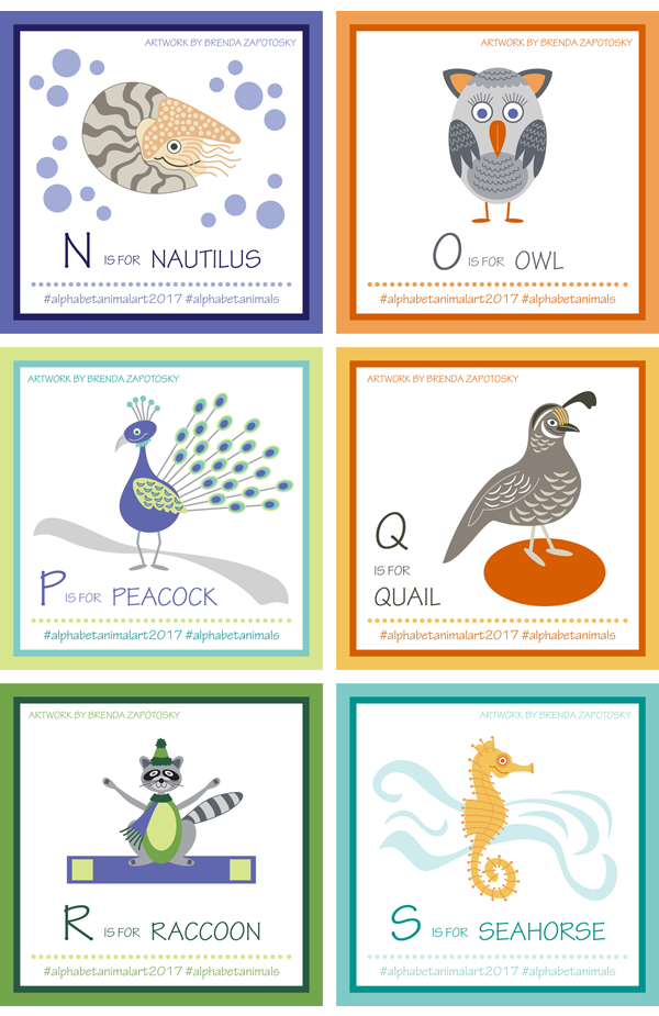 Alphabet Animals Letters N to S by Brenda Zapotosky