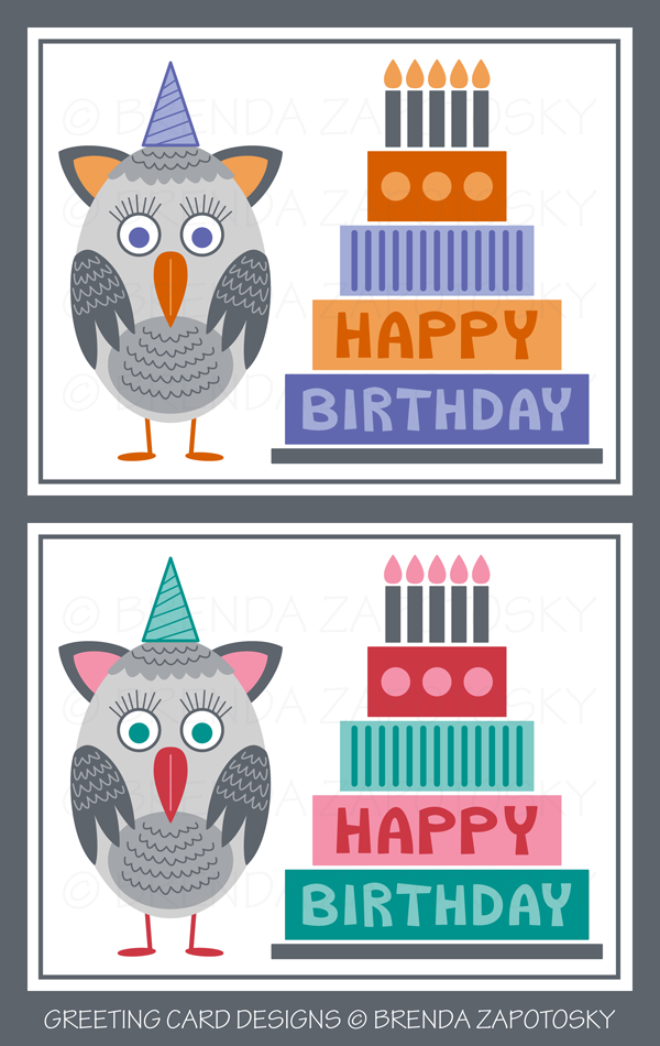 Owl Birthday Cards by Brenda Zapotosky