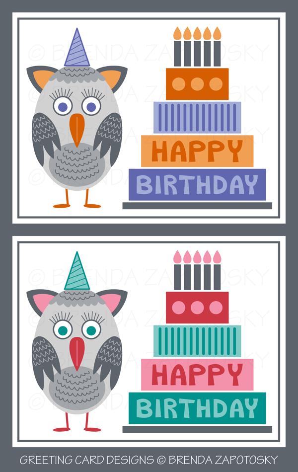 Owl Birthday Cards by Brenda Zapotosky