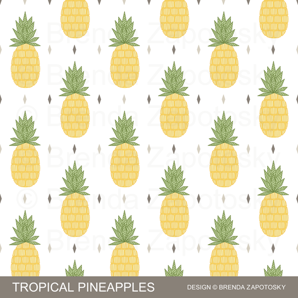 Tropical Pineapples Pattern by Brenda Zapotosky