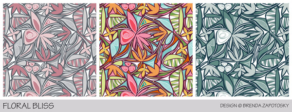 Floral Bliss 3 Color Versions by Brenda Zapotosky