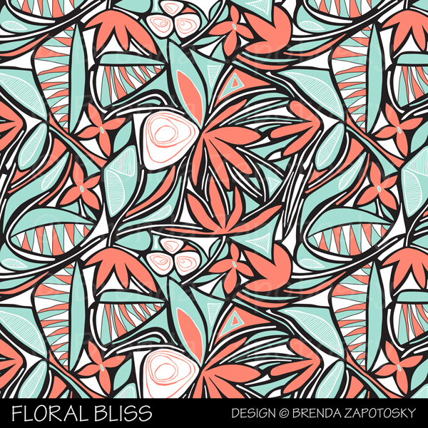 Floral Bliss Coral and Mint by Brenda Zapotosky