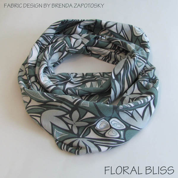 Floral Bliss Winter Blues Infinity Scarf by Brenda Zapotosky