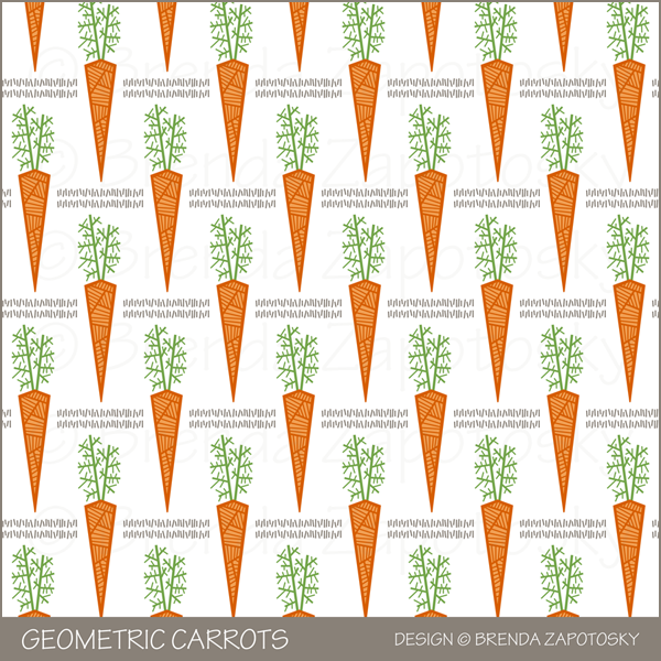 Geometric Carrots Pattern by Brenda Zapotosky Outlined