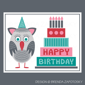 Birthday Owl Greeting Card by Brenda Zapotosky