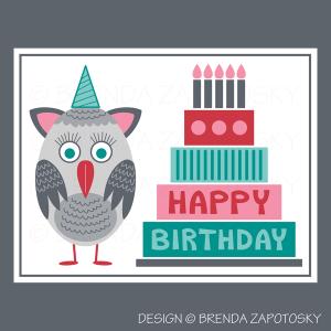 Birthday Owl Greeting Card by Brenda Zapotosky