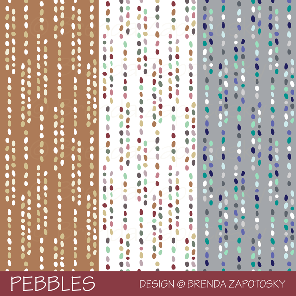Pebbles Pattern 3 Color Versions by Brenda Zapotosky