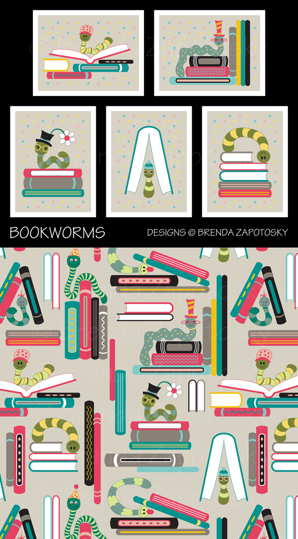 Bookworms Note Cards and Gift Wrap by Brenda Zapotosky
