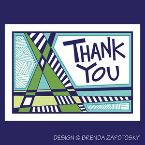 Criss Cross Thank You Card Cool by Brenda Zapotosky Web Sm