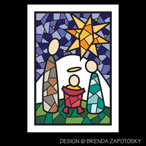 Mosaic Nativity Card by Brenda Zapotosky Web Sm