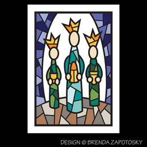 Mosaic Wise Men Card by Brenda Zapotosky Web Sm