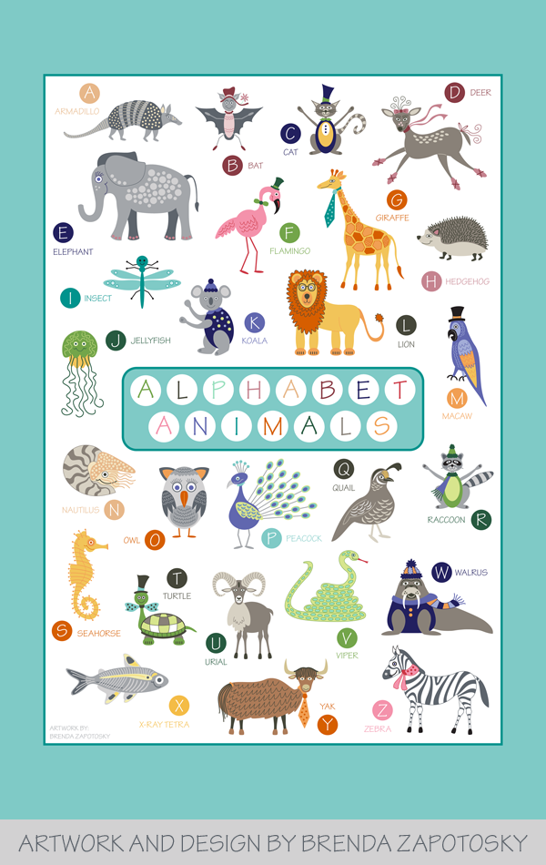 Alphabet Animals Poster by Brenda Zapotosky SM