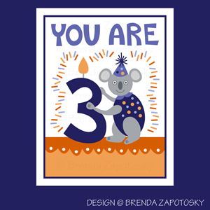 Koala Birthday Card by Brenda Zapotosky Web Sm