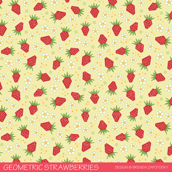 Geometric Strawberries Classic Pattern by Brenda Zapotosky