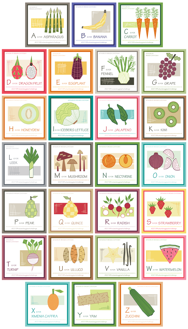 26 fruit and vegetable illustrations by brenda zapotosky