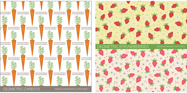 carrots and strawberries patterns by brenda zapotosky