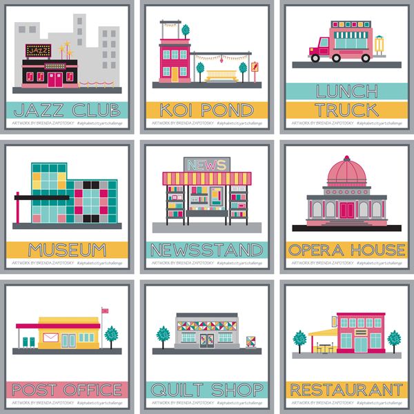 City Illustration Boxes J thru R by Brenda Zapotosky
