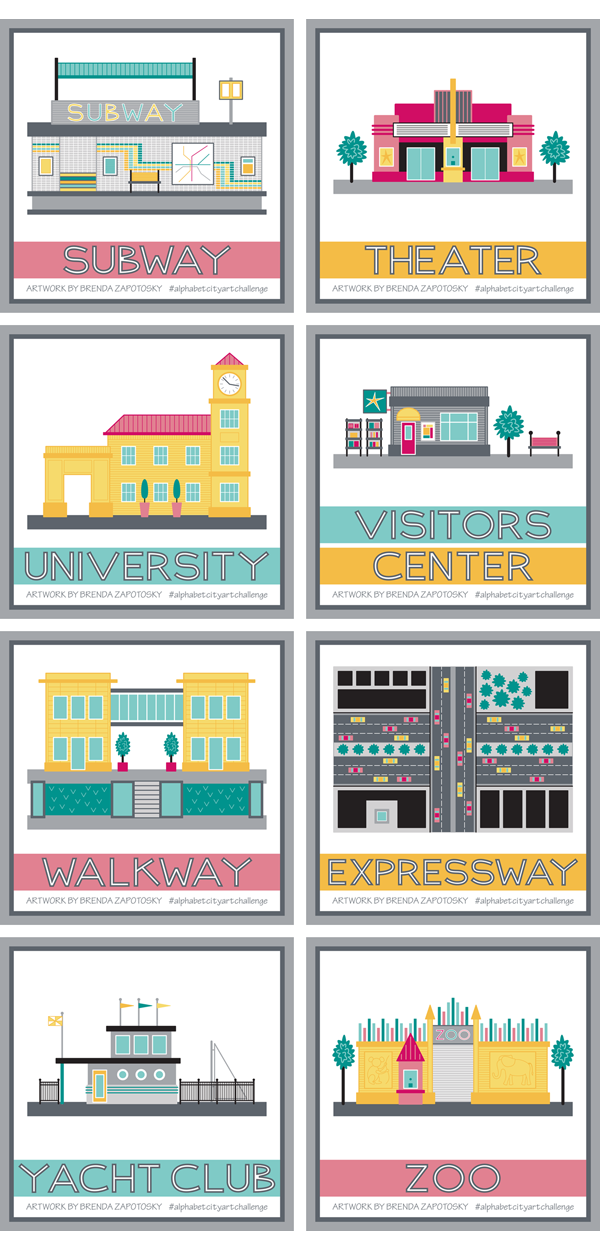 City Illustration Boxes S thru Z by Brenda Zapotosky