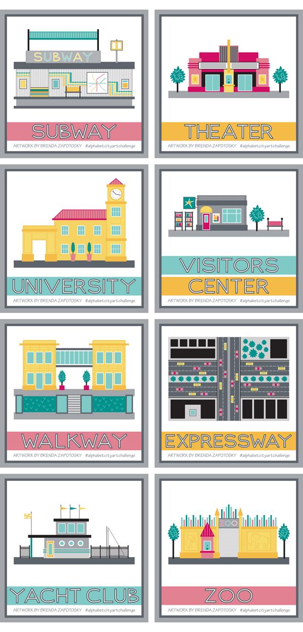 City Illustration Boxes S thru Z by Brenda Zapotosky